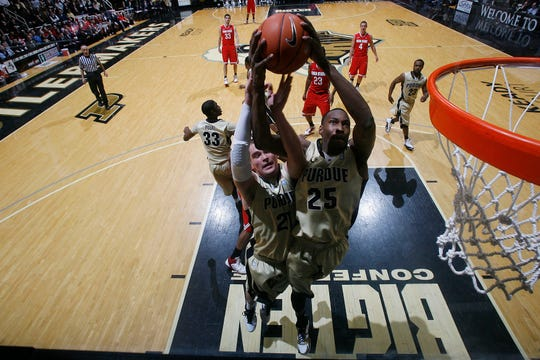 Feb 20, 2011; West Lafayette, IN, USA; Purdue Boilermakers forward JaJuan Johnson (25) grabs a rebound against the Ohio State Buckeyes at Mackey Arena. Purdue defeated Ohio State 76-63. Mandatory Credit: Brian Spurlock-USA TODAY Sports