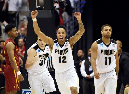 Mar 18, 2017; Milwaukee, WI, USA; Purdue Boilermakers forward Vince Edwards (12) celebrates after defeating the Iowa State Cyclones in the second round of the 2017 NCAA Tournament at BMO Harris Bradley Center. Mandatory Credit: Benny Sieu-USA TODAY Sports