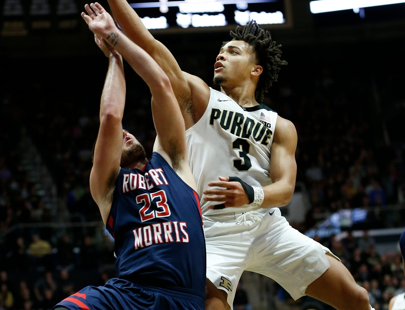 Carsen Edwards of Purdue with a shot over Matty McConnell of Robert Morris Friday, November 23, 2018, at Mackey Arena. Purdue defeated Robert Morris 84-46.