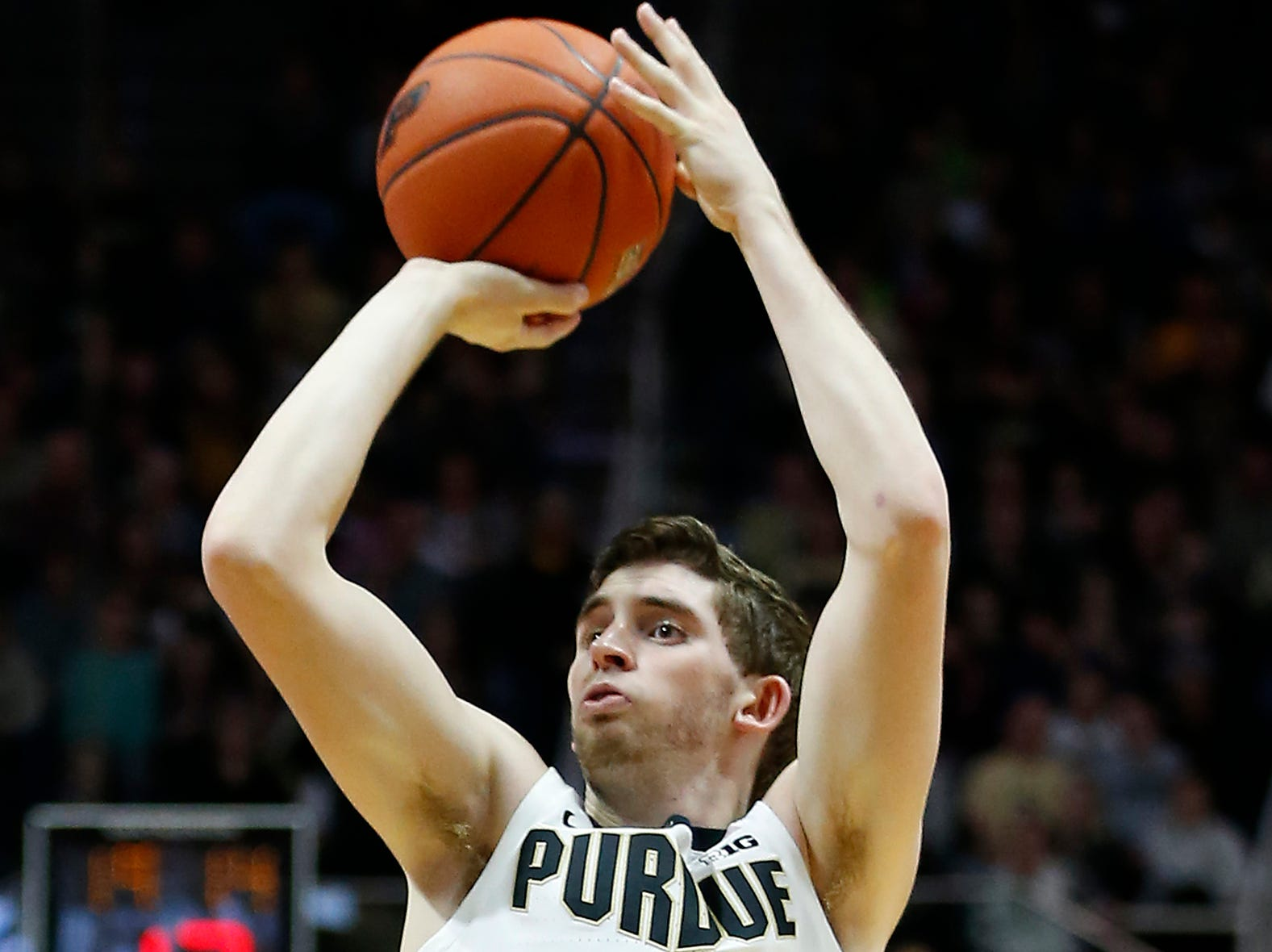 Ryan Cline of Purdue with a three-point shot against Robert Morris Friday, November 23, 2018, at Mackey Arena. Purdue defeated Robert Morris 84-46.