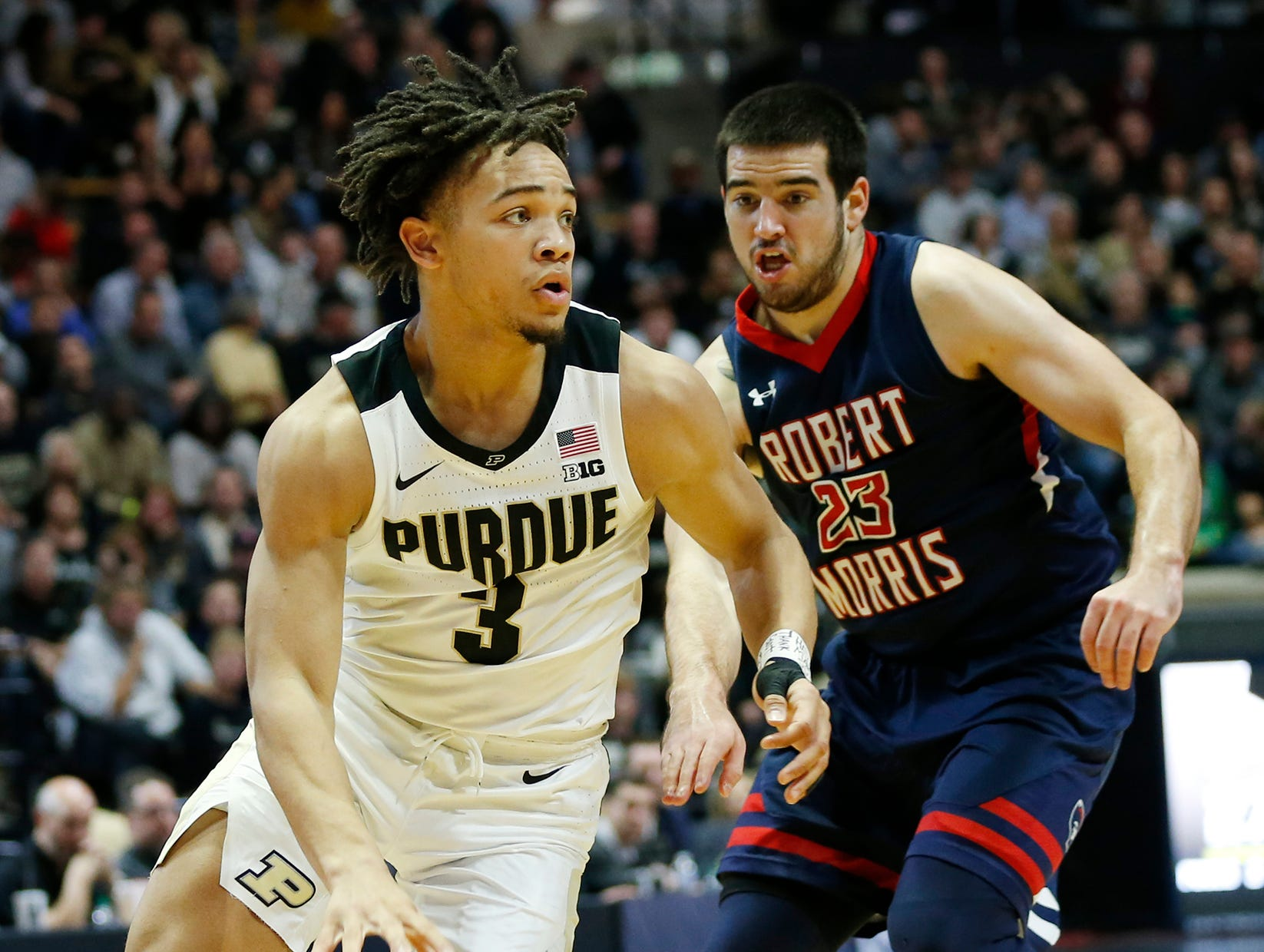 Carsen Edwards gets a quick step on Matty McConnell of Robert Morris Friday, November 23, 2018, at Mackey Arena. Purdue defeated Robert Morris 84-46.