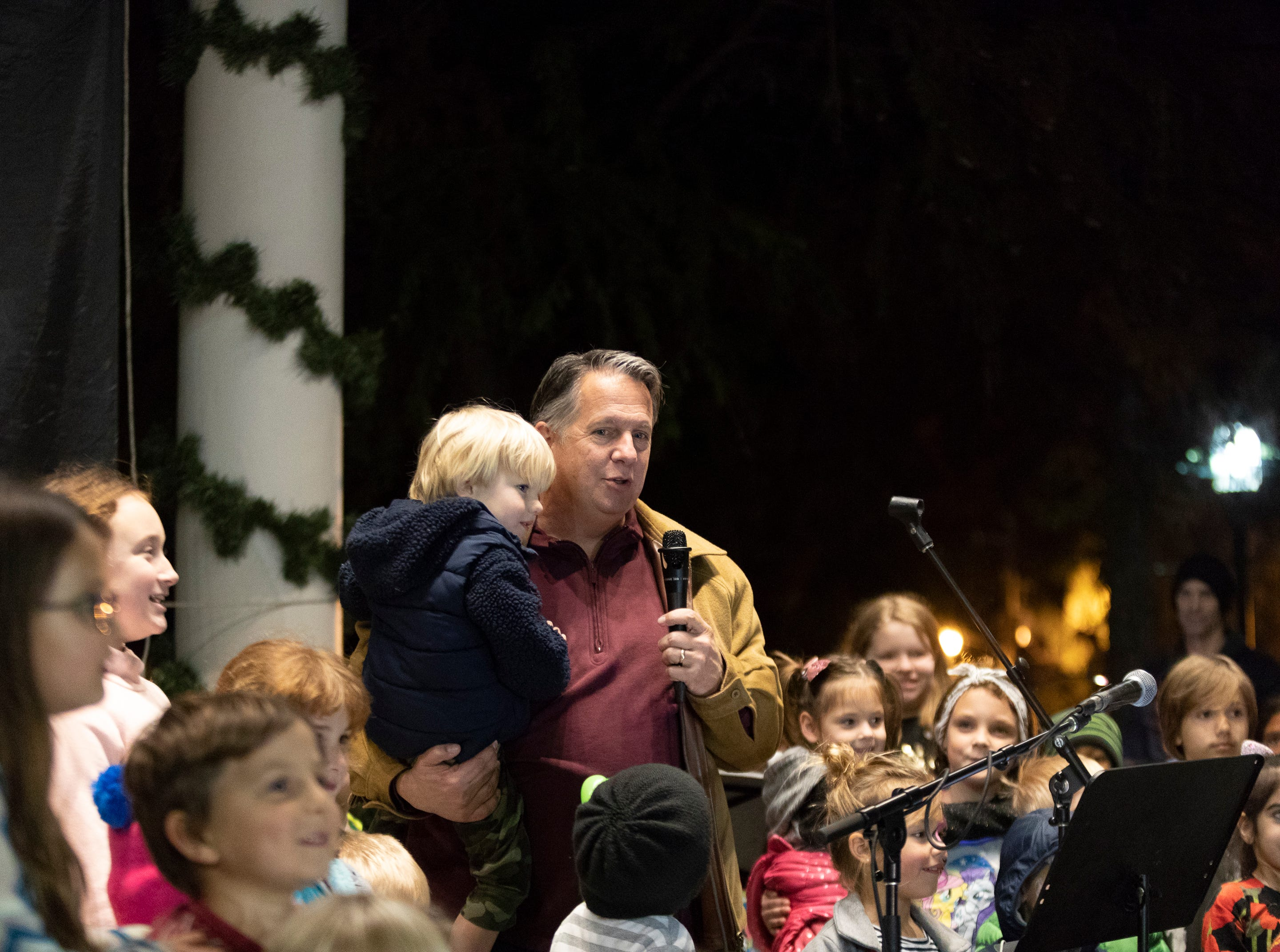 The Pine Leaf Boys played a special Downtown Alive, Thanksgiving Eve. Young and old enjoied music, food and dancing. Mayor-President Joel Robideaux lit the Christmas tree with help for the children in the crowd.