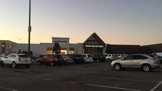 Vehicles fill up the River Valley Mall parking lot as Black Friday begins the holiday shopping season.
