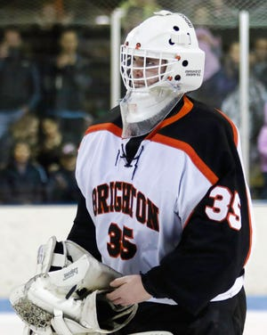 Brighton goalie Harrison Fleming made 32 saves in a 2-0 shutout of Orchard Lake St. Mary's.