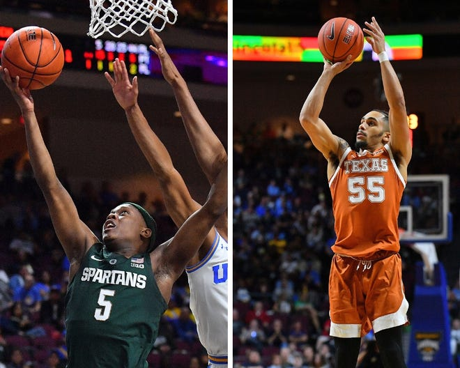 From left: Michigan State's Cassius Winston and Texas's Elijah Mitrou-Long.