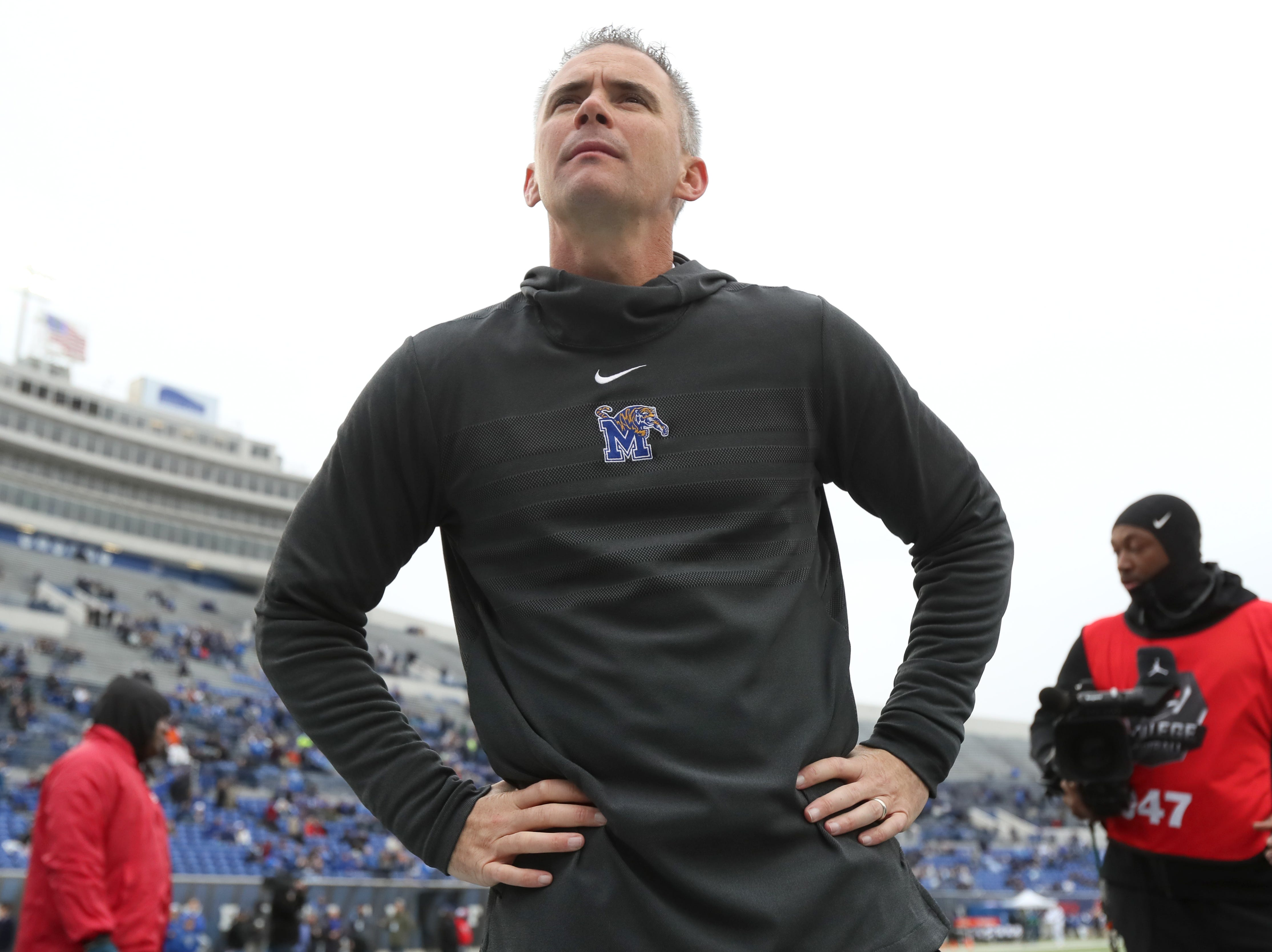 Memphis Tigers Head Coach Mike Norvell before their game against the Houston Cougars at the Liberty Bowl on Friday, Nov. 23, 2018.