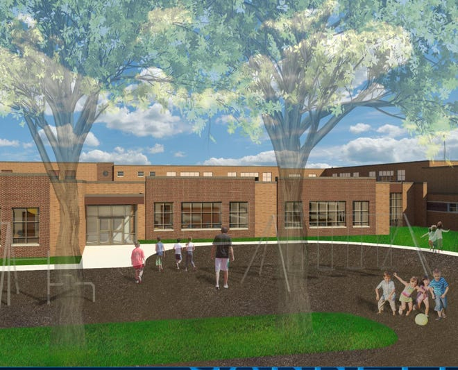 An artist rendering shows the classroom, school secure entrance addition that will be built at Hales Corners Elementary School, 11319 W. Godsell Ave.
