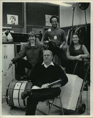 1983: Friends Mime Theater's Mike Moynihan (seated in front),  Barbara Leigh (left) Rafael B. Smith and Melinda Boyd (right) sit for a photo.