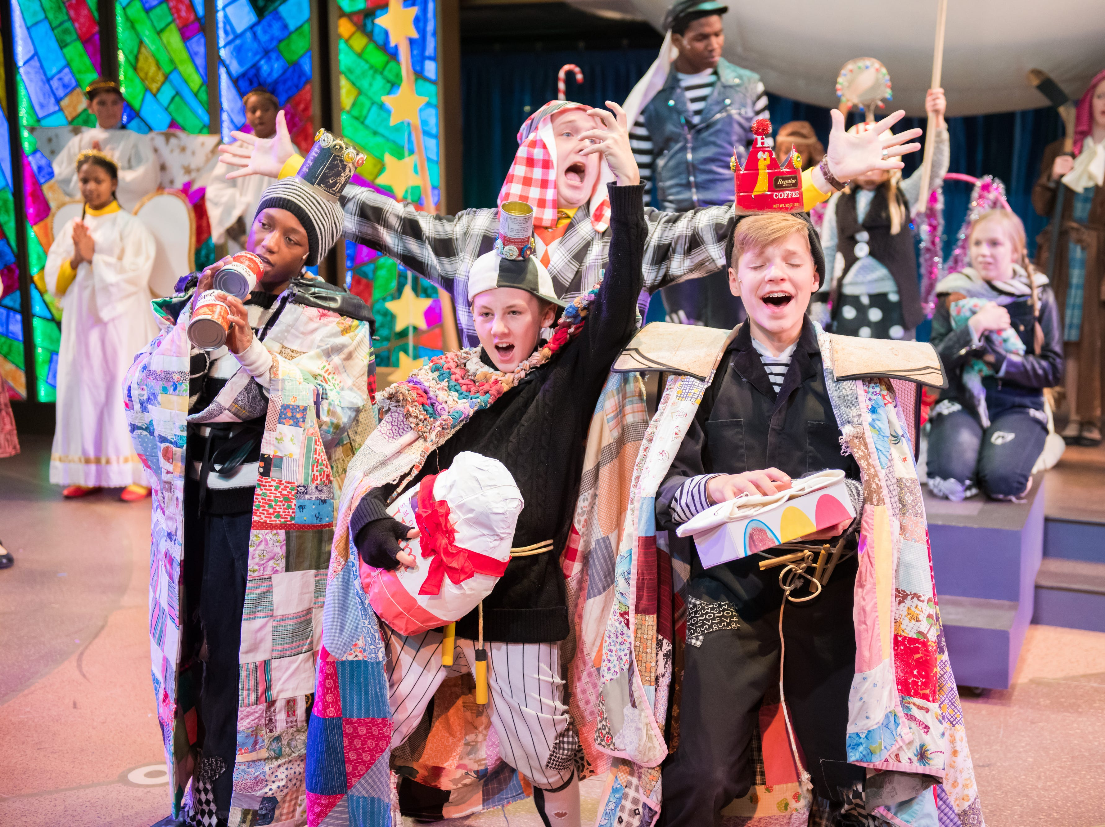 """The Jolly cast performs in """"The Best Christmas Pageant Ever: The Musical,"""" presented by First Stage."""