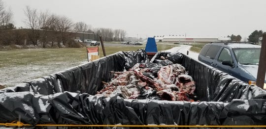 This deer carcass dumpster in Prairie du Sac was sponsored by the Sauk County Conservation Alliance.