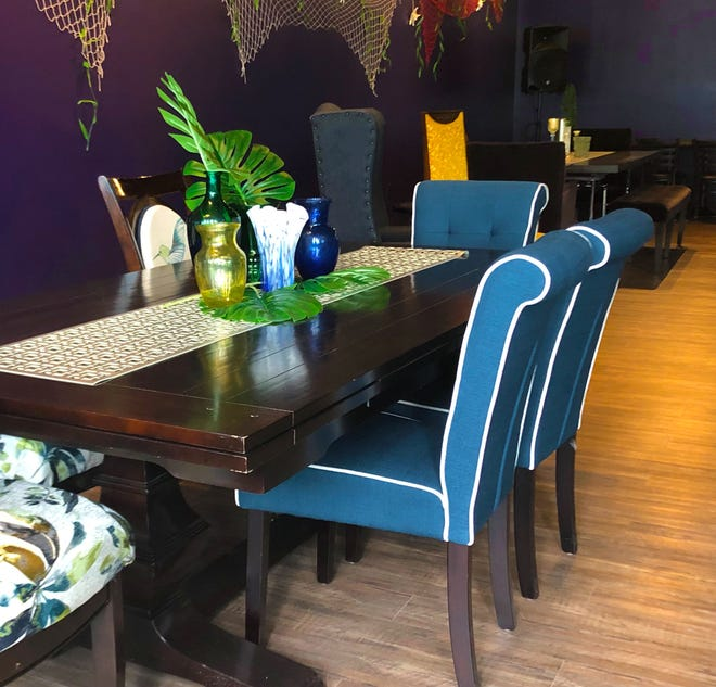 Rich colors are found in the dining room at Jewels Caribbean Restaurant, 2230 N. King Drive, which debuts to the public Saturday.