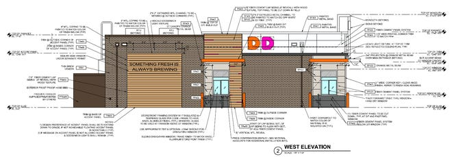 A site plan shows a proposed Dunkin' Donuts in Menomonee Falls. An entrance to a new Baskin-Robbins would be on the opposite side of the building.