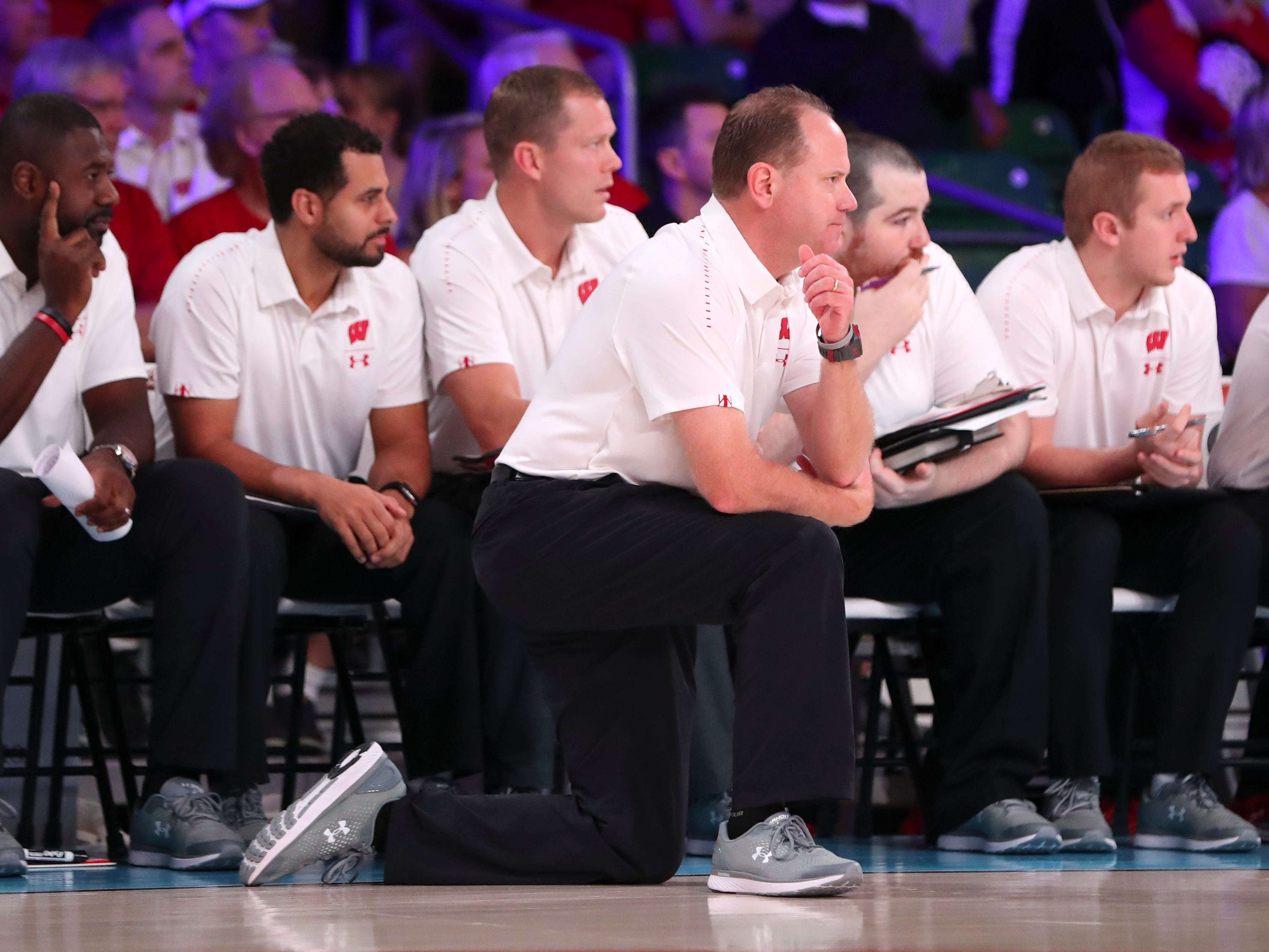Badgers head coach Greg Gard watches his team.