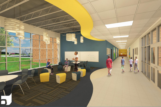An artist rendering shows a hallway in the addition that will be built at Hales Corners Elementary School, 11319 W. Godsell Ave.