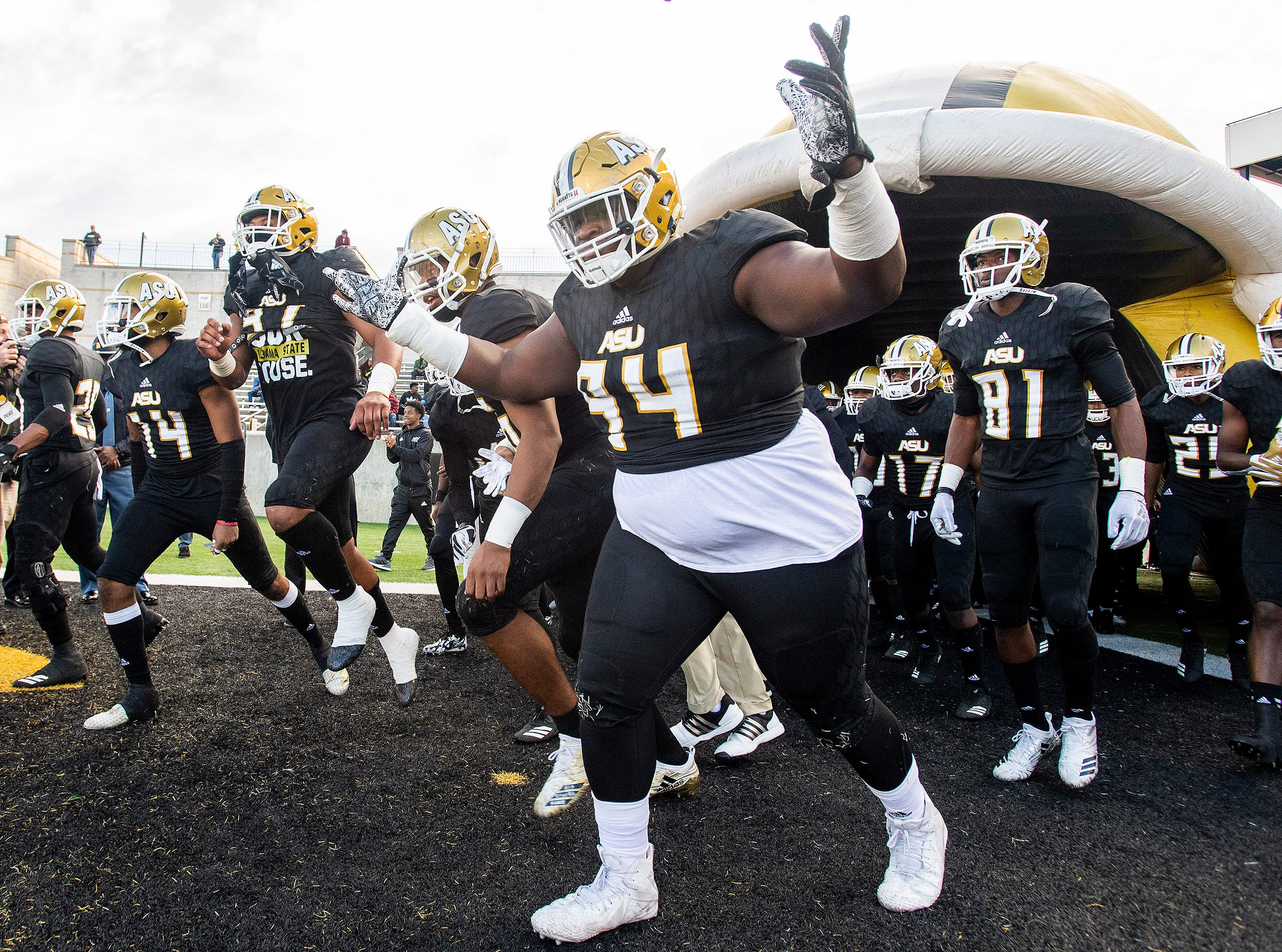 Alabama State University takes the field for the Turkey Day Classic at Hornet Stadium on the ASU campus in Montgomery, Ala., on Thanksgiving Day, Thursday November 22, 2018.