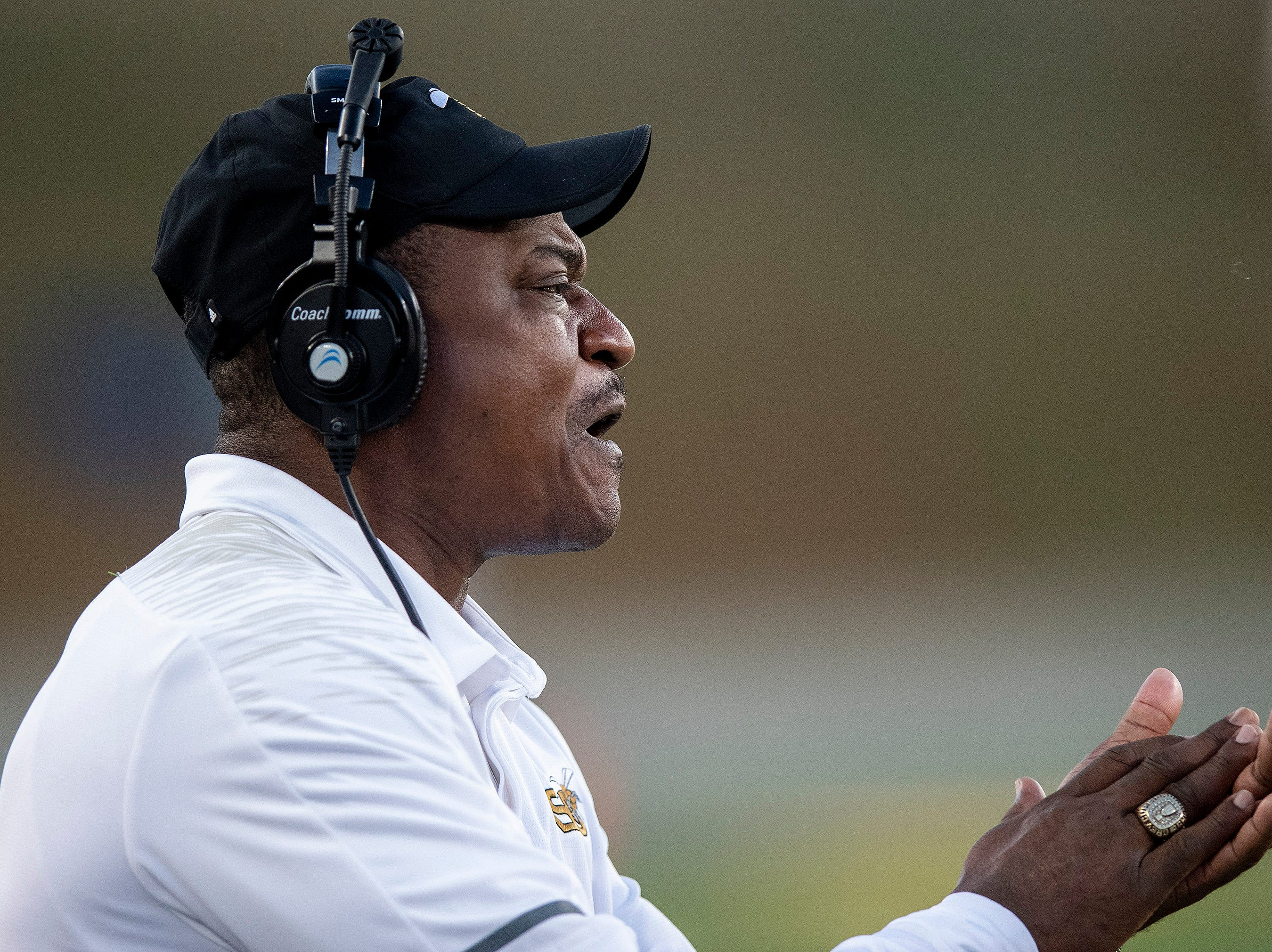 Alabama State University head football coach Donald  Hill-Eley during the Turkey Day Classic at Hornet Stadium on the ASU campus in Montgomery, Ala., on Thanksgiving Day, Thursday November 22, 2018.