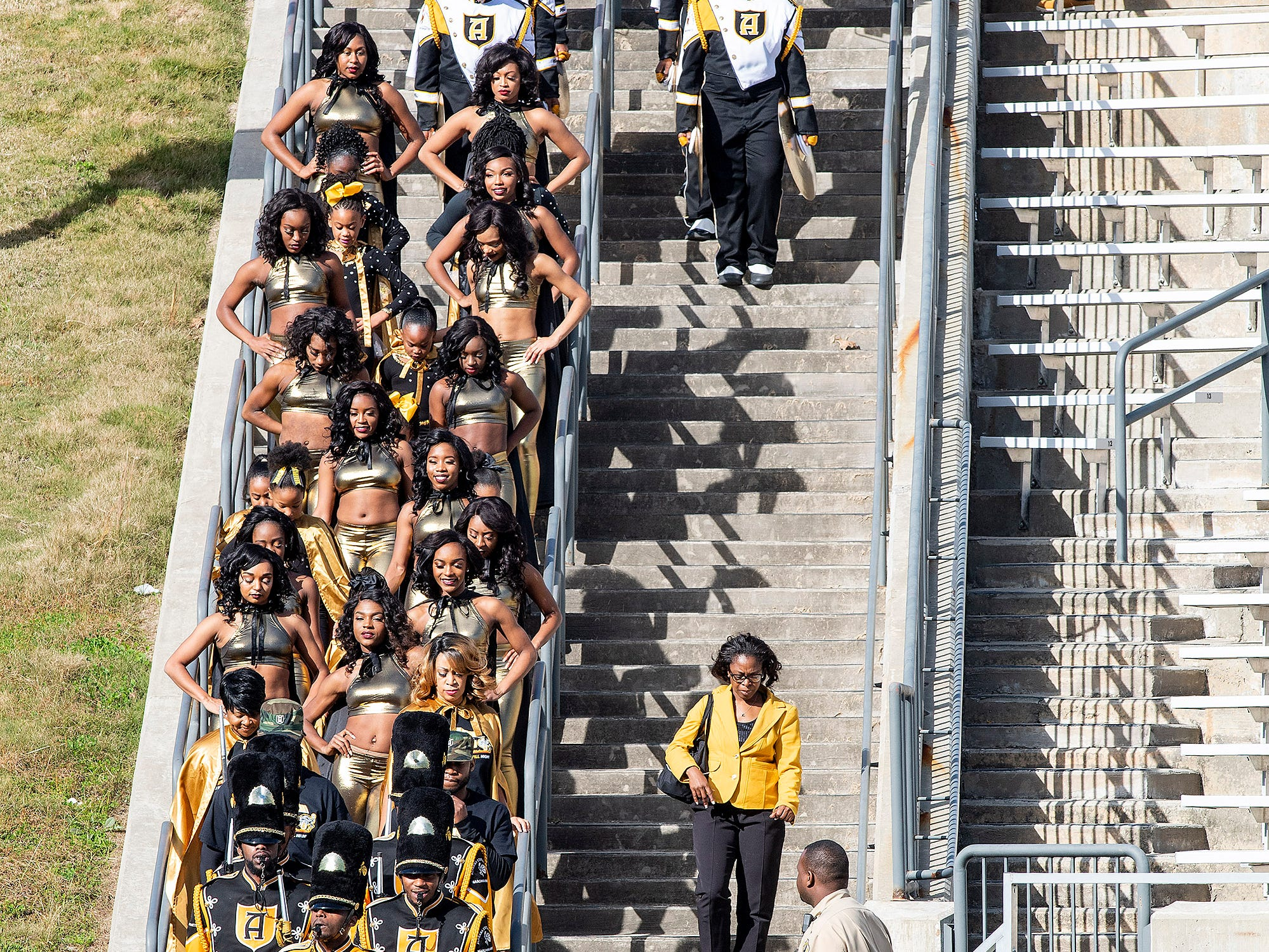 The Alabama State University Marching Hornets arrive for the Turkey Day Classic at Hornet Stadium on the ASU campus in Montgomery, Ala., on Thanksgiving Day, Thursday November 22, 2018.
