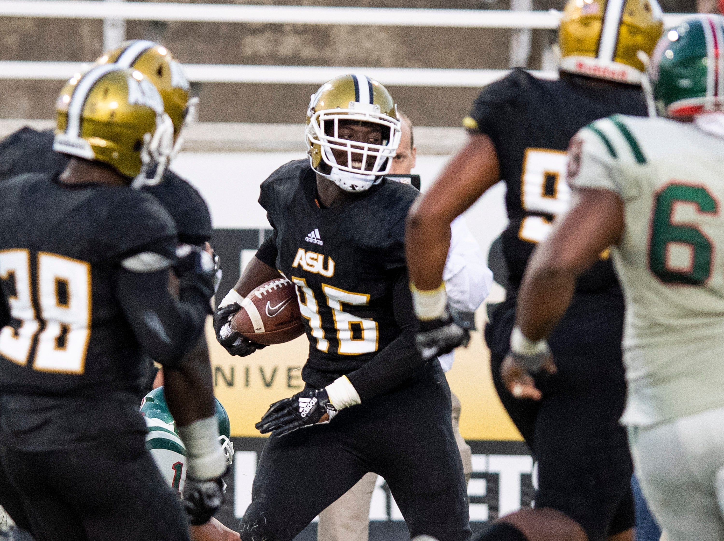 Alabama State University defensive lineman J'Lan Carson (96) intercepts a pass against Mississippi Valley State in the Turkey Day Classic at Hornet Stadium on the ASU campus in Montgomery, Ala., on Thanksgiving Day, Thursday November 22, 2018.