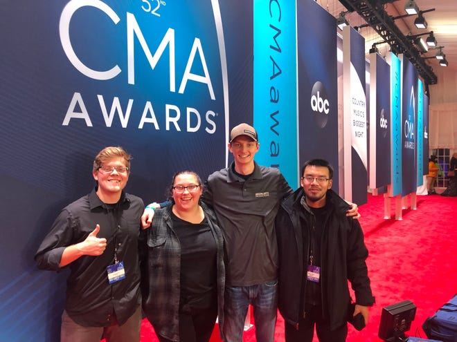 MTSU students Andrew Stephens, left, Madison Stewart, Levi Underwood and Minh Phan were among 11 students from MTSU's College of Media and Entertainment who got a behind-the-scenes view at work before and during the telecast of the 52nd Country Music Association Awards earlier this month.