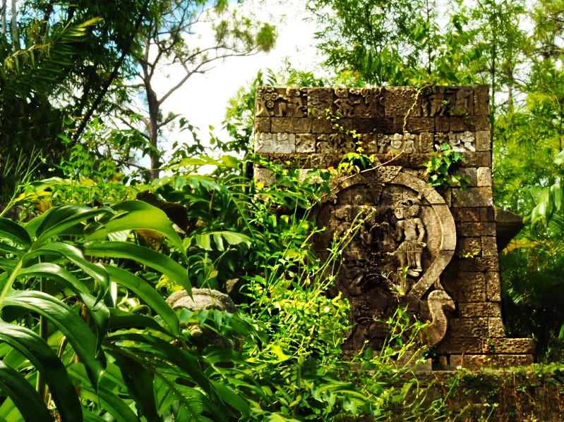 The Naples Botanical Gardens feature a Javanese temple ruin and ancient plaza in a landscape filled with banyan trees, bamboo, and groves of tropical Asian edibles including lychee, jackfruit and starfruit.