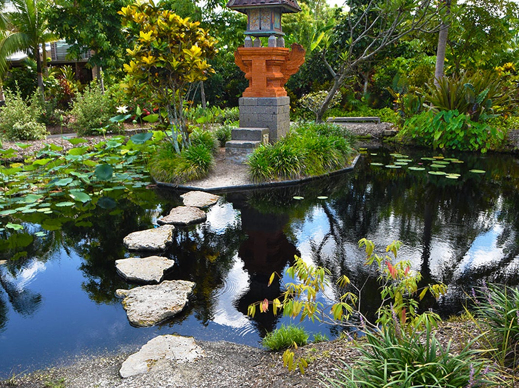 A Thai pavilion set in a lotus pool and a stepping stone path through a water garden leading to the Balinese shrine is a tribute to the goddess of rice and fertility located in the Lea Asian Garden at Naples Botanical Gardens.