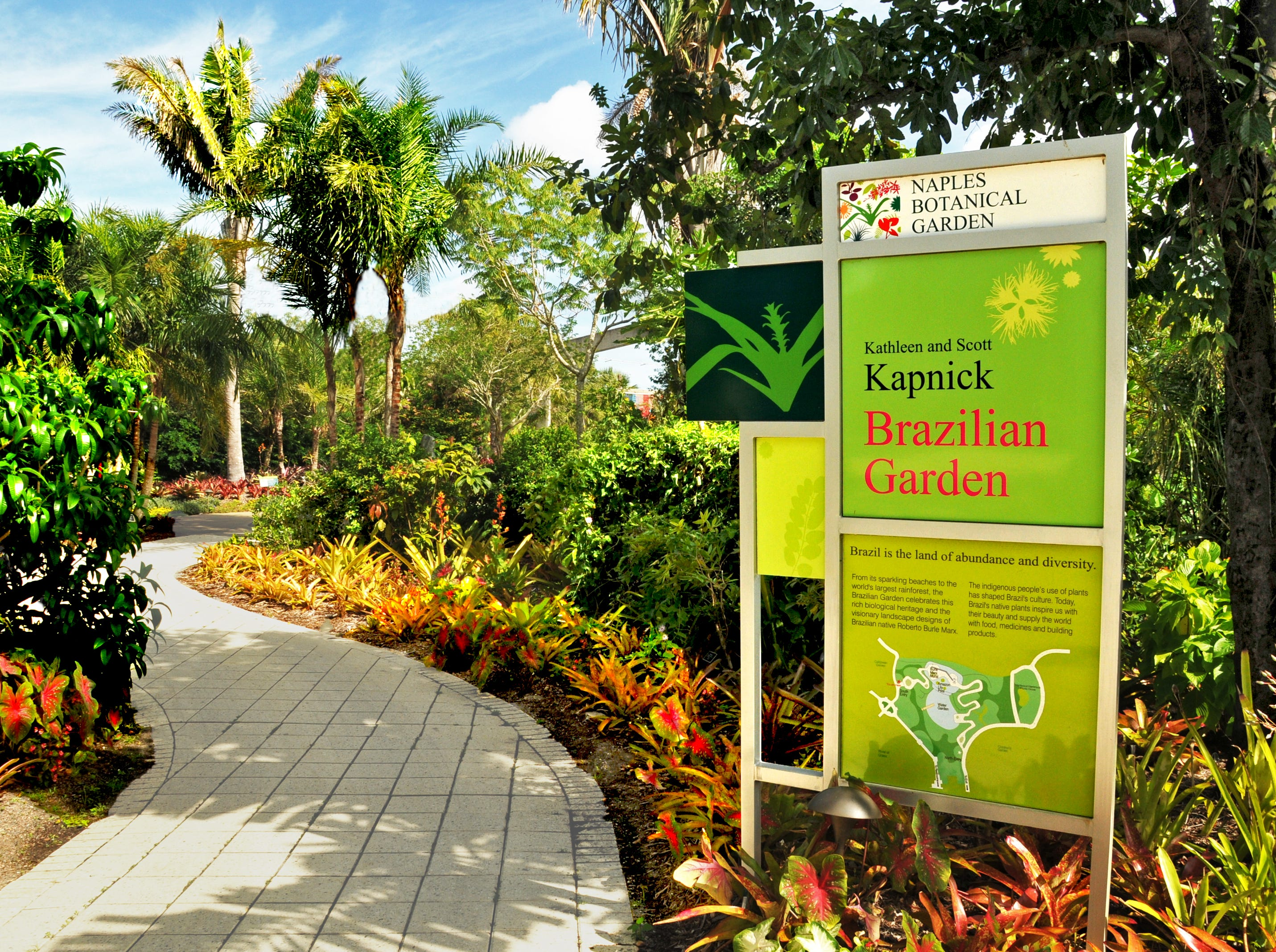 The Kathleen and Scott Kapnick Brazilian Garden at the Naples Botanical Gardens is bold and gives great tribute to the country.