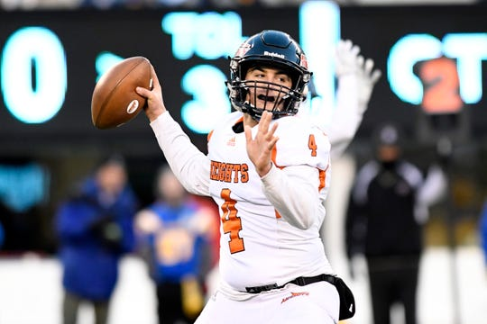 Hasbrouck Heights quarterback Spencer Lee throws the ball in the first half. Heights defeats Butler 41-7 for the North Group 1 title on Friday, Nov. 23, 2018, in East Rutherford.