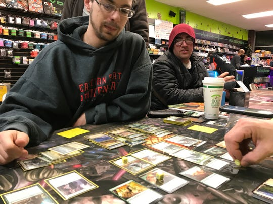 Sean Abline plays Magic: The Gathering at Level 1 Games in Pequannock, N.J.