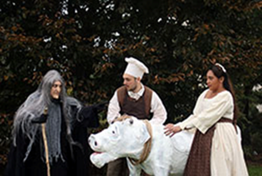 """From left: Leigh Jonaitis of Warwick, N.Y, as the Witch; Kevin Bergen of Glen Rock as the Baker; and Natasha J. Gaston of West New York, as the Baker's Wife, in the Bergenstages production of """"Into the Woods"""""""