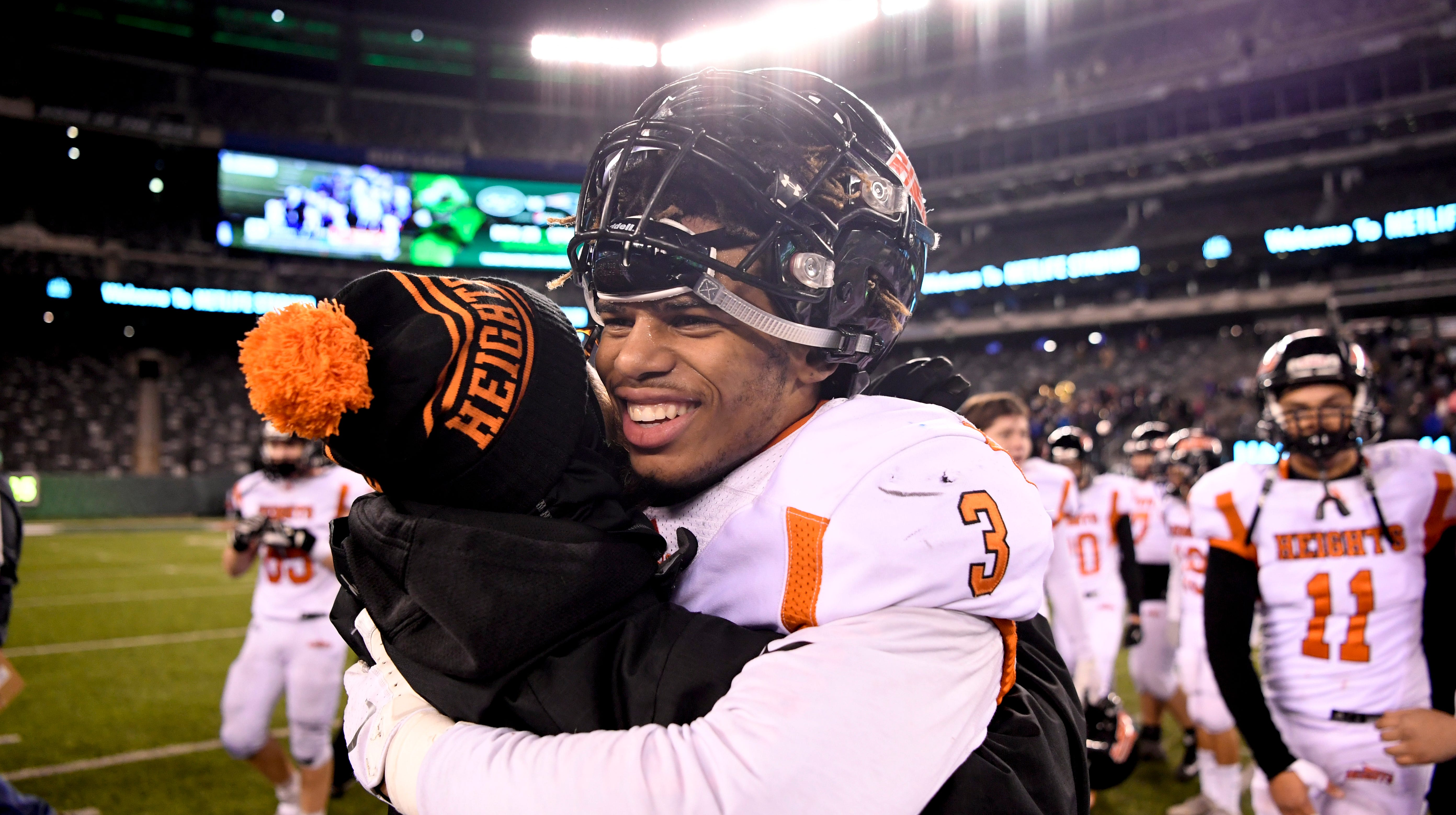 Hasbrouck Heights' Jasiah Purdie celebrates his team's 41-7 win over Butler for the North Group 1 championship on Friday, Nov. 23, 2018, in East Rutherford.