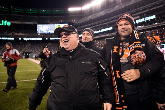 Hasbrouck Heights head coach Nick Delcalzo, left, is all smiles as his team defeats Butler 41-7 for the North Group 1 final on Friday, Nov. 23, 2018, in East Rutherford.