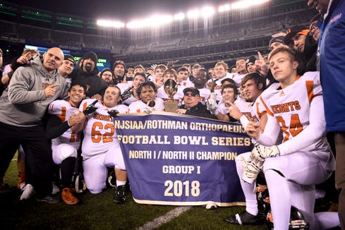 Hasbrouck Heights defeats Butler 41-7 in the NJSIAA high school football North Group 1 final on Friday, Nov. 23, 2018, in East Rutherford.
