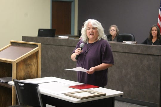 Tularosa resident Jennifer Garza talked about the what Hunter Benally's poem meant to her at the Tularosa Village Council meeting Nov. 21.
