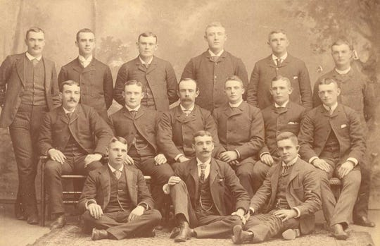 In Hoy's second year with the Oshkosh baseball team, Oshkosh won the Northwestern League pennant. According to the Oshkosh Public Museum, Hoy is in the front row, first person on the left.