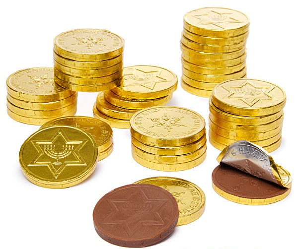 """Hanukkah """"gelt"""" are foil-wrapped chocolate coins that often are given as little presents during the celebration of Hanukkah."""