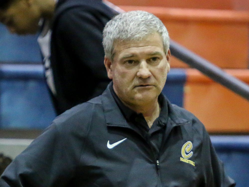 Pensacola Catholic head coach Jeff Gill watches as his team takes on Pine Forest in the preseason basketball jamboree at Escambia High School on Tuesday, November 20, 2018.