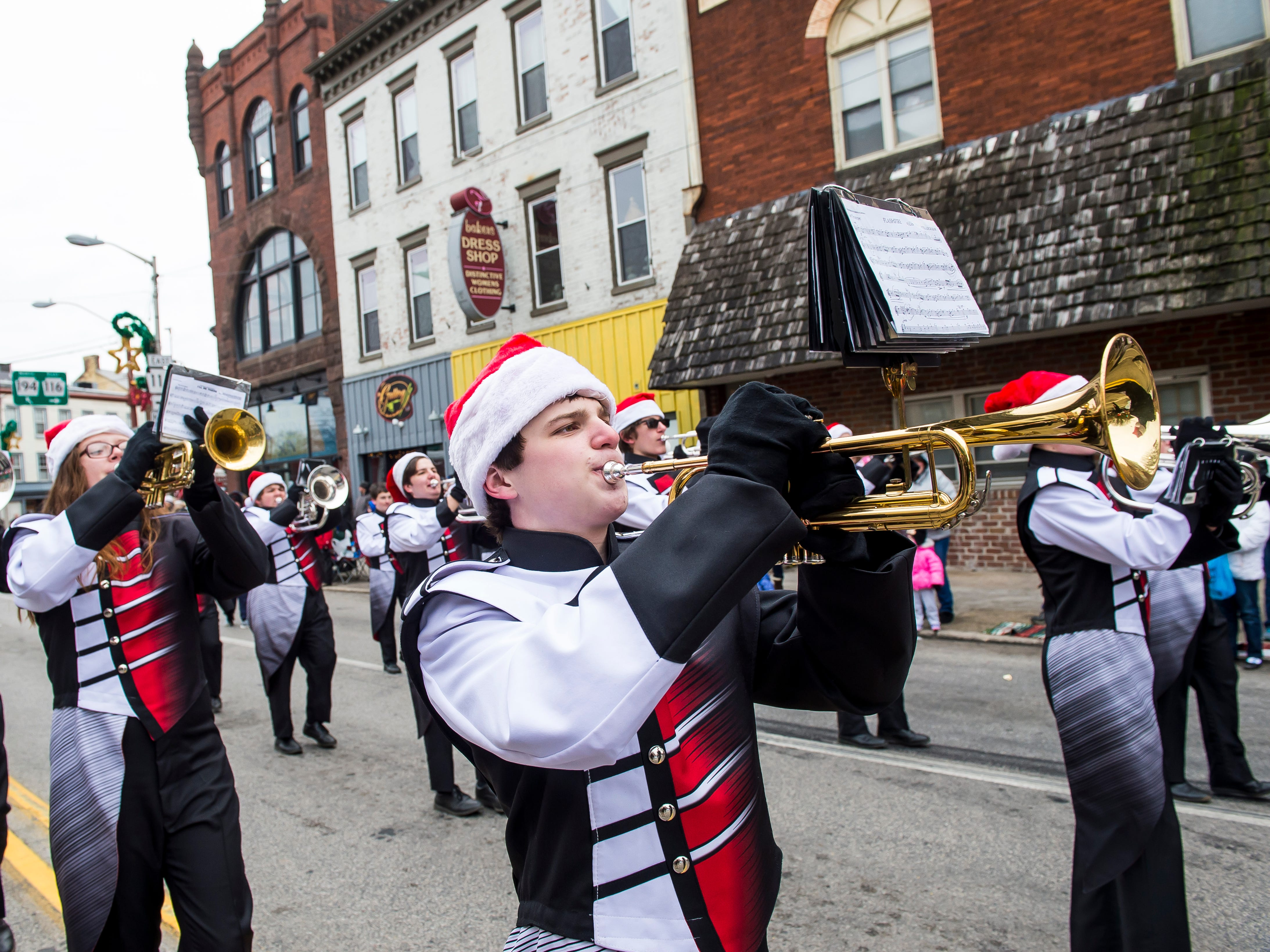 The South Western High School marching band performs in the Hanover Christmas parade on Friday, November, 23, 2018.