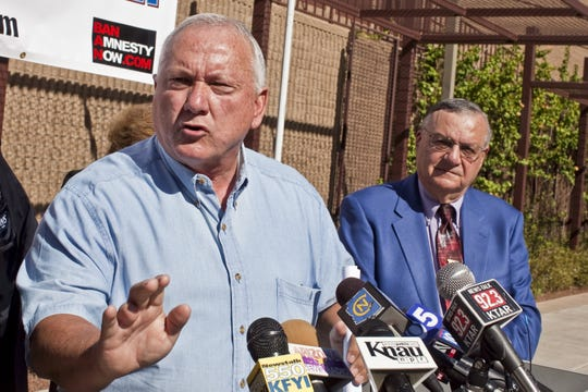 Some critics contend Maricopa County Attorney Bill Montgomery uses the authority of his office to protect friends, including former Arizona Senate President Russell Pearce (left, in 2010), a fellow Republican who authored SB 1070 and had endorsed Montgomery in his 2010 campaign, along with Sheriff Joe Arpaio (right).