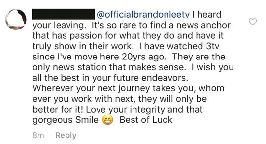 Brandon Lee shares a message that received following the news of his exit from Channel 3. It's one of several similar messages the newsman has received.