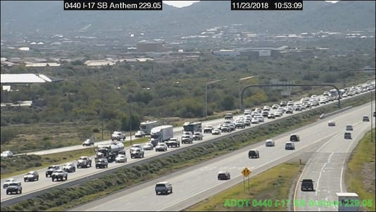 Heavy traffic on northbound I-17 near Anthem