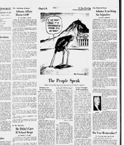 A Reg Manning cartoon from September 1958 shows an ostrich representing Tucson thinking that if it buries his head in the sand it could ignore the growth of Tempe's college