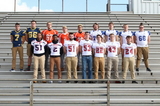 The 2018 All-Lebanon County Football Team offensive selections are, front row, from left, Lebanon's Tzadik Hicklan (51) and Jahlil Young (2), and Annville-Cleona's Connor Williams (51) Gavin Stout (53) Tyler Long (22) Trevor Porsche (43) and Caleb Turner (24) Back Row: Elco's Erik Williams (7) and Joe Nelson (66), Palmyra's Zach Speece (67), Kasey Shughart (6) and Caleb Hawkins (26), Cedar Crest's TJ Moore (73) Brody Dunlop (33) Logan Horn (4) and Nate Shaeffer (66). Missing from the photo is Sean Carter of Palmyra.
