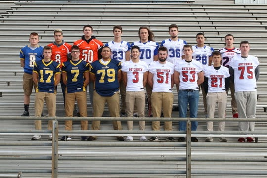 Introducing the 2018 All-Lebanon County football team's defensive honorees, front row, from left, Elco's Braden Bohannon (17), Erik Williams (7), and Jon Bopp (79),  Annville-Cleona's Jalen Price (3), Connor Williams (51), Gavin Stout (53), Mac Plummer (21), and Danny Davies (75) Top Row: Northern Lebanon's Ethan Herb (8), Palmyra's Hunter Dorn (8), and Jake Miller (50), Cedar Crest's Cole Miller (23), Nick Stout (70), Eric Wawrzyniak (36) and Essay Santos (28), and Lebanon's Christian Manzolillo (26). Missing from the photo are Palmyra's Sean Carter and Annville-Cleona's Logan Wagner.