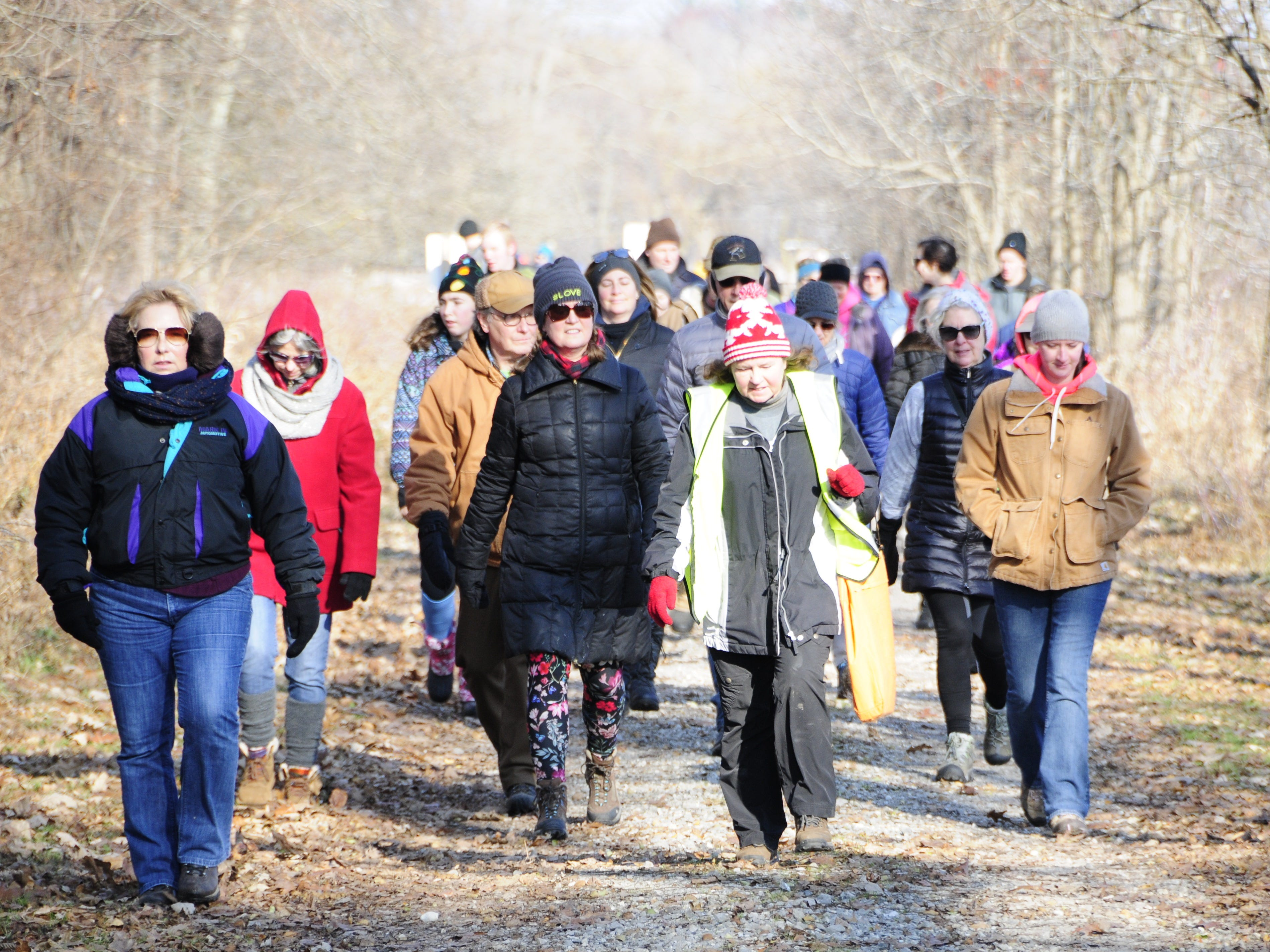 A group walks during  Friday's Opt Outside hike at Columbus County Park.