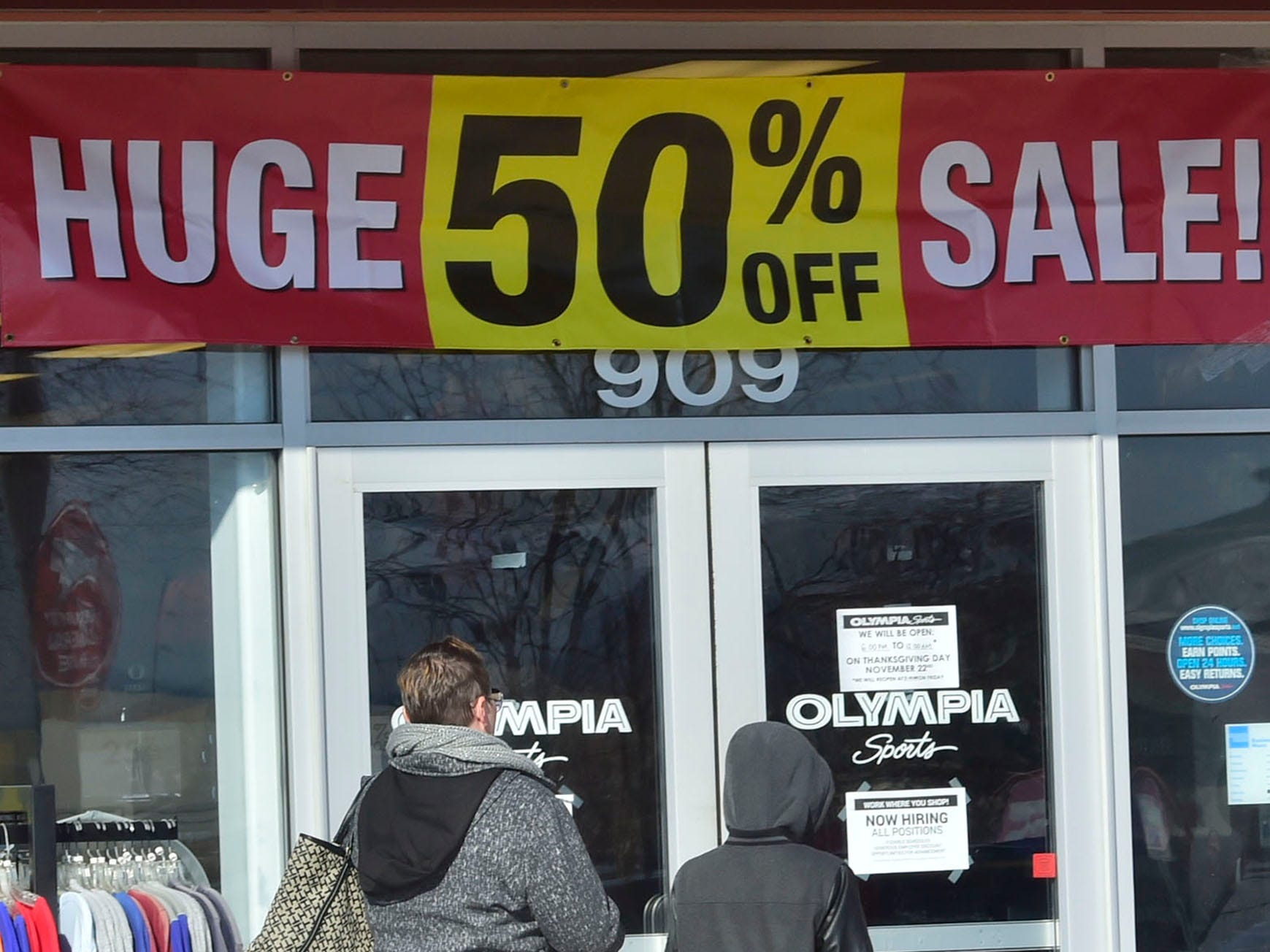 Olympia Sports in Chambersburg Crossing is offering deals on Friday, November 23, 2018. Shoppers were at the malls and stores looking for great deals on Black Friday.