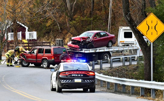 Officials at the scene of an accident on Cabin Creek Road in Lower Windsor Township, Friday, Nov. 23, 2018. Dawn J. Sagert photo