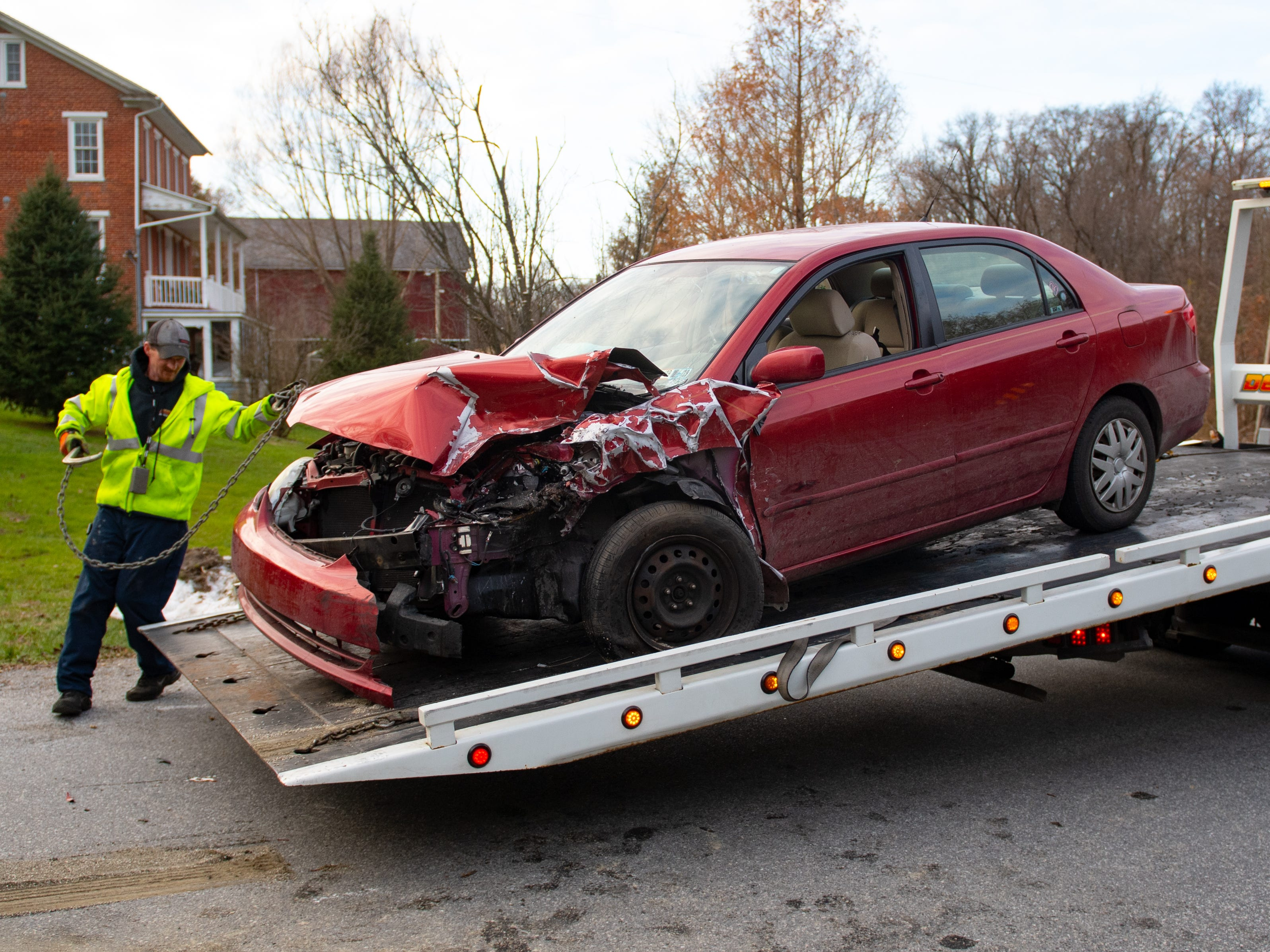 Four people in the sedan were transported to the hospital to be treated for non life-threatening injuries. The driver of the SUV was not injured, November 23, 2018.