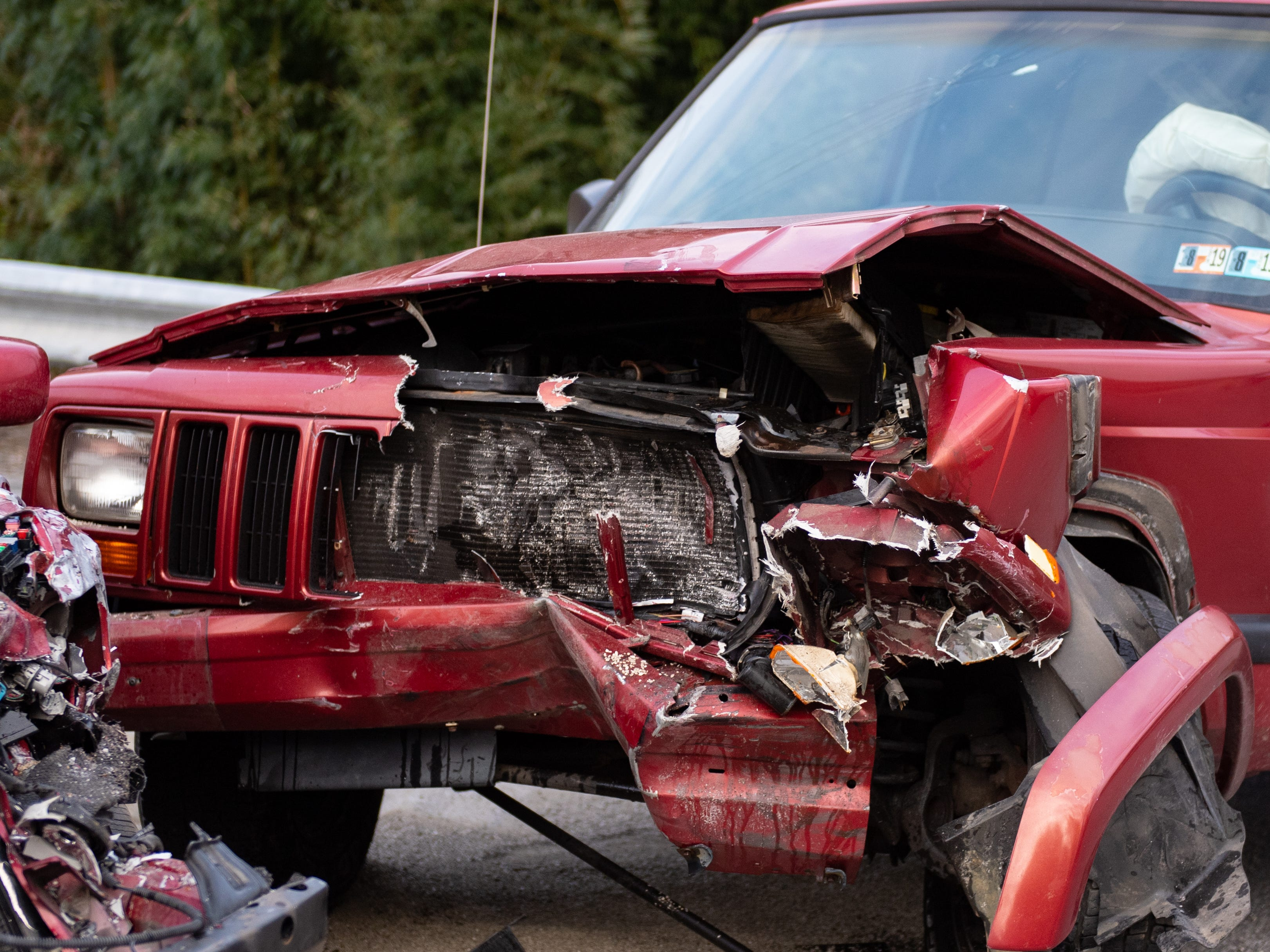 The SUV's front end is fairly torn up as a result of the collision, November 23, 2018.