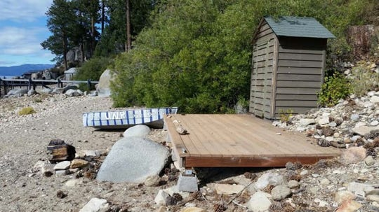 A photo of the deck at the former Ty Cobb estate on the shores of Lake Tahoe taken in fall of 2016 when water levels were low.