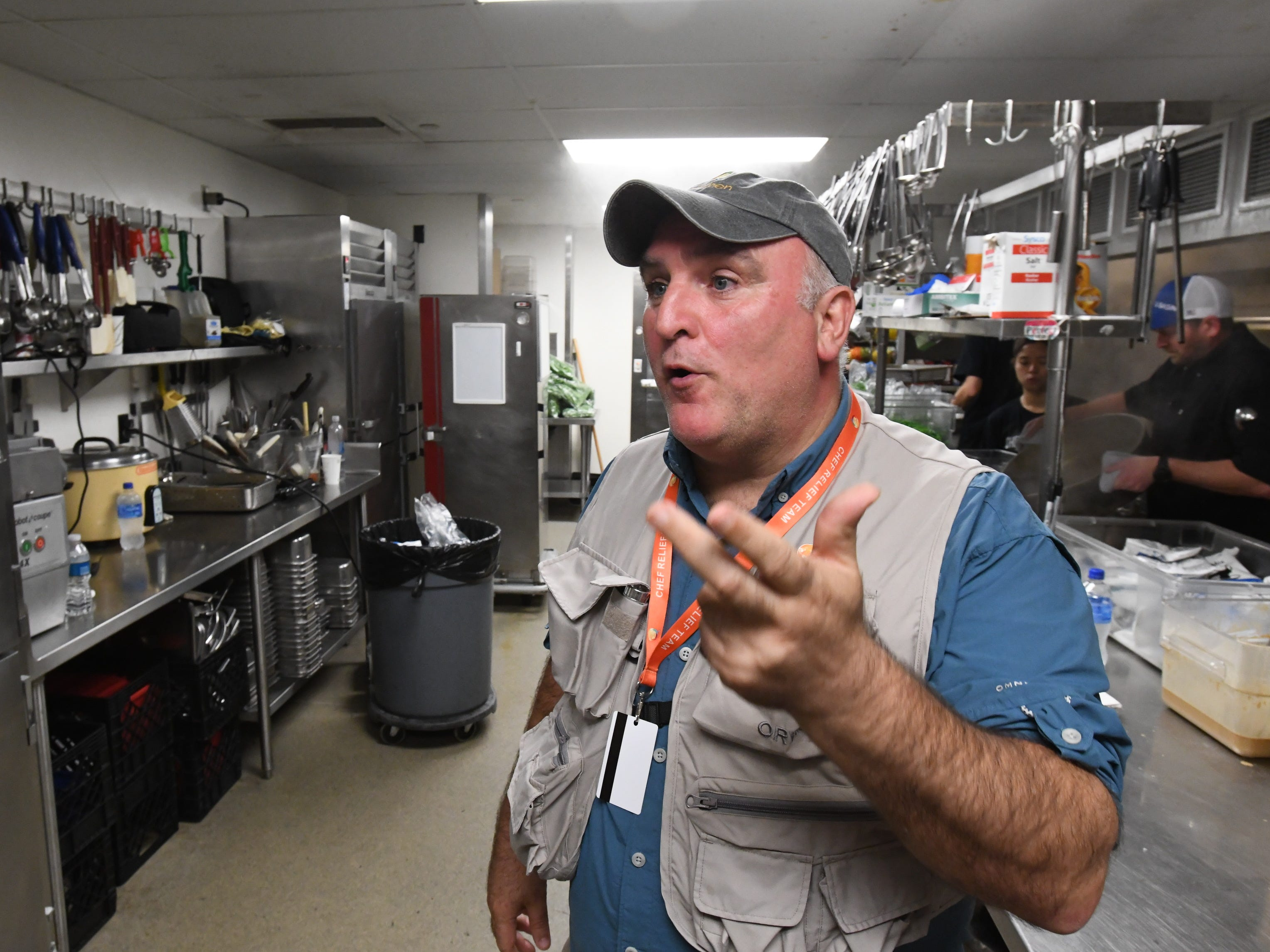 Chef Jose Andrés in the kitchen of the Bell Memorial Union Auditorium on the Chico State University campus in Chico, Calif., on Nov. 22, 2018. The renowned chef, who was still mourning the recent death of his father, Mariano Andrés, was among hundreds of volunteers cooking Thanksgiving dinner for evacuees from the Camp Fire which devastated the nearby town of Paradise, Calif.